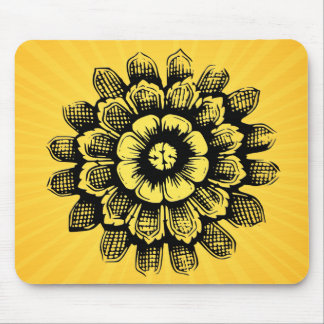 Eastern Flower on Yellow Sunburst Mouse Pad