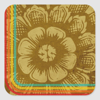Eastern Flower With Retro Stripes On A Grunge Back Square Sticker