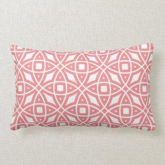 Eastern Geometric Pattern Coral Pink Lumbar Cushion