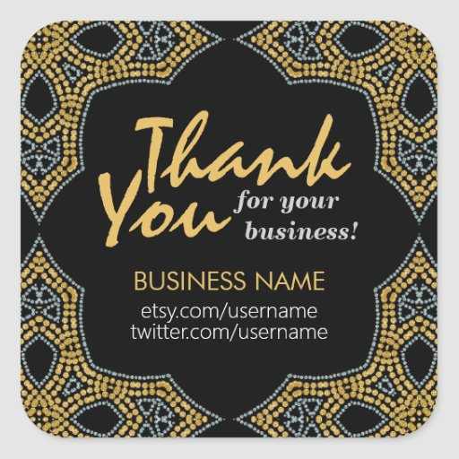 Eastern Mosaic Thank You Business Square sticker