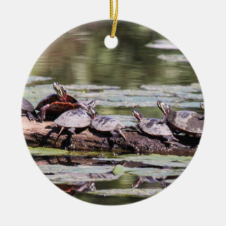 Eastern Painted Turtle Round Ceramic Decoration