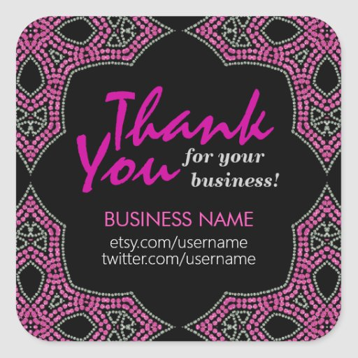 Eastern Pink Mosaic Thank You Business sticker