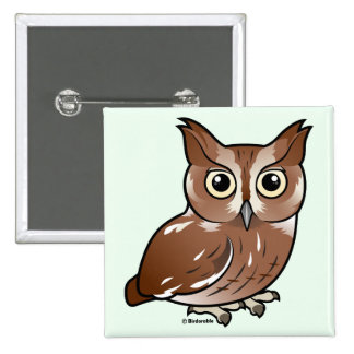 Eastern Screech Owl Red Phase Button
