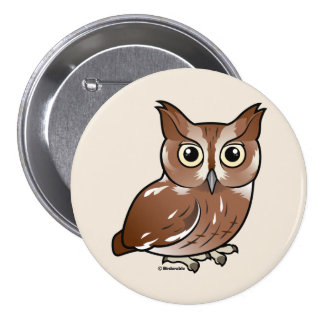 Eastern Screech Owl Red Phase Pinback Buttons