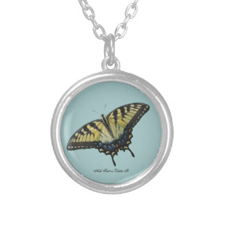 Eastern Tiger Swallowtail Butterfly Round Pendant Necklace