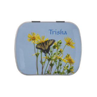 Eastern Tiger Swallowtail on Yellow Daisies Candy Tins