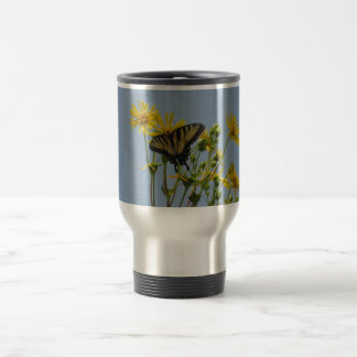 Eastern Tiger Swallowtail on Yellow Daisies Stainless Steel Travel Mug