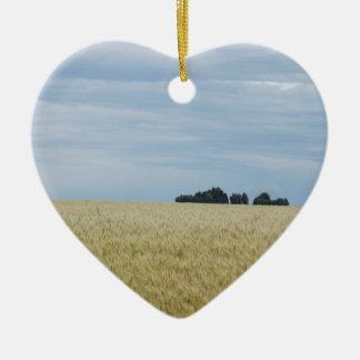 Eastern Washington Wheat Field Ceramic Heart Decoration