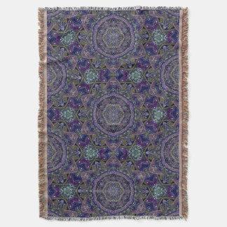 Eastern Zen Mandala Fine white lace on purple Throw Blanket
