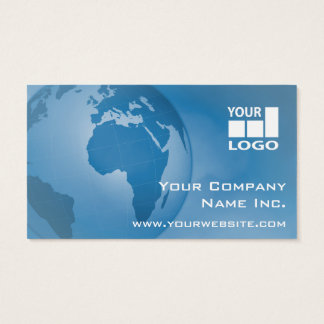 Easy Add Your Logo Global Corporate Blue Business Card