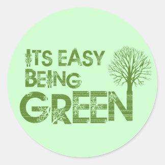 Easy being green round sticker