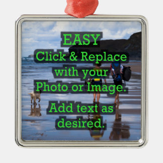 Easy Click & Replace Image to Create Your Own Silver-Colored Square Decoration