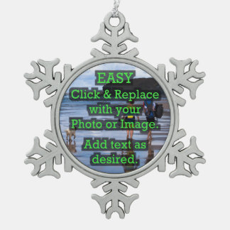 Easy Click & Replace Image to Create Your Own Snowflake Pewter Christmas Ornament