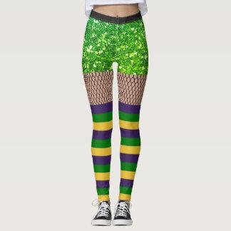 Easy Mardi Gras Costume Fishnet Glitter Leggings