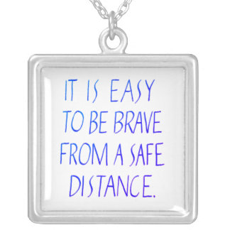 Easy to be brave inspirational quote typography silver plated necklace