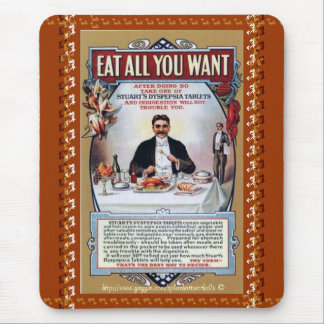 Eat all you want-Stuarts Vintage Dyspepsia Tablet  Mouse Pad