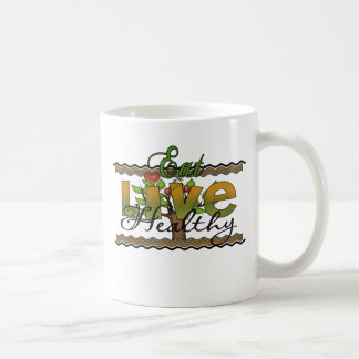 Eat and Live Healthy Coffee Mugs