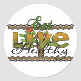Eat and Live Healthy Round Sticker