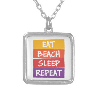 Eat Beach Sleep Repeat Silver Plated Necklace