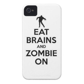 eat brains and zombie on iPhone 4 cases