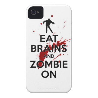 Eat brains and Zombie on keep calm walkers dead un iPhone 4 Cases