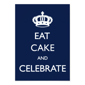 Eat Cake and Celebrate Birthday Invite- Navy 13 Cm X 18 Cm Invitation Card