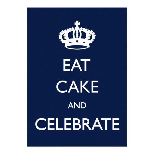 Eat Cake and Celebrate Birthday Invite- Navy