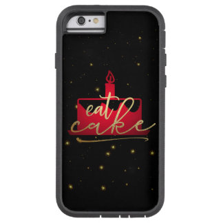 """""""Eat Cake"""" whimsical red and gold foil iphone case"""