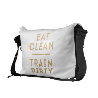 Eat Clean Train Dirty Glitter Messenger Gym Bag Courier Bag