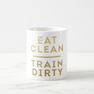 Eat Clean Train Dirty Gold Glitter Logo Coffee Mug