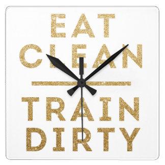 Eat Clean Train Dirty Gold Glitter Wall Clock