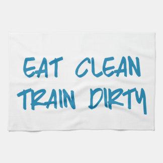 Eat Clean, Train Dirty Motivational Workout Gym Tea Towel