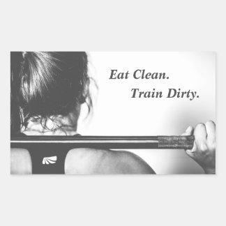 Eat Clean, Train Dirty Rectangular Sticker