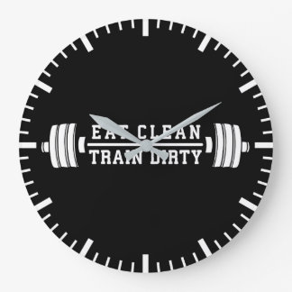 Eat Clean, Train Dirty - Workout Inspirational Large Clock