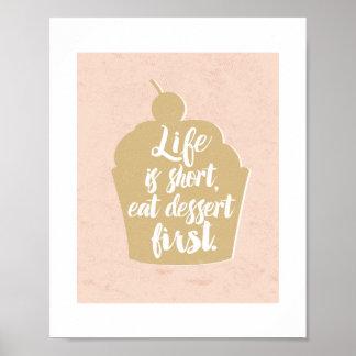 Eat Dessert First, Cupcake Poster