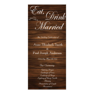 Eat Drink and be married barn wood program Rack Card