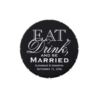 Eat, Drink, and Be Married Black Background Favor Jelly Belly Candy Tin