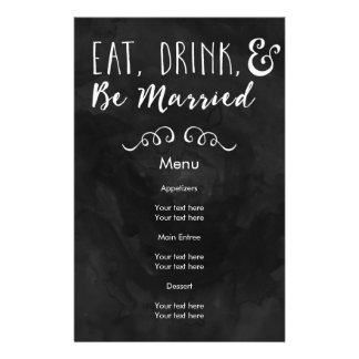 Eat, Drink, and Be Married Chalkboard Wedding 14 Cm X 21.5 Cm Flyer
