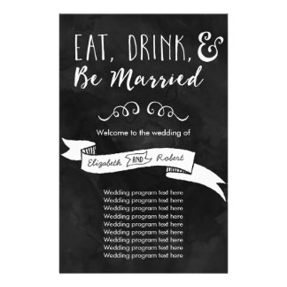 Eat, Drink, and Be Married Chalkboard Wedding Flyer