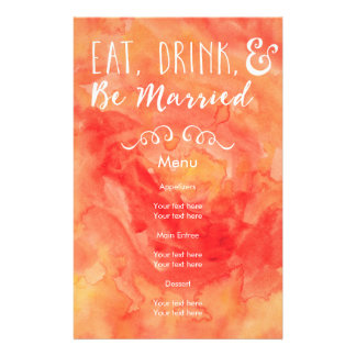 Eat, Drink, and Be Married Coral Wedding 14 Cm X 21.5 Cm Flyer