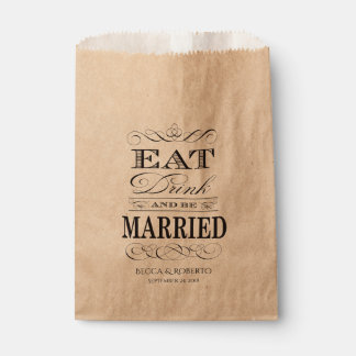 Eat Drink and Be Married Custom Wedding Favour Bags