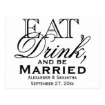 Eat, Drink, and Be Married Custom Wedding Postcards