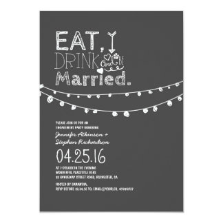 Eat Drink And Be Married Engagement Party 13 Cm X 18 Cm Invitation Card