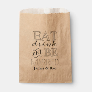 Eat Drink and Be Married Favor Bag Favour Bags