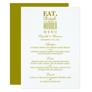 Eat, Drink and be Married Gold Wedding Menu 11 Cm X 16 Cm Invitation Card