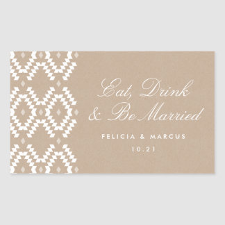 Eat, Drink and Be Married label, mini champagne Rectangular Sticker