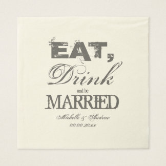 Eat drink and be married luncheon wedding napkins disposable serviettes