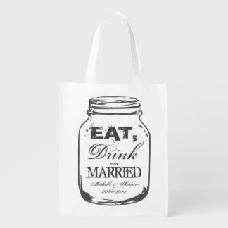 Eat drink and be married mason jar reusable bags