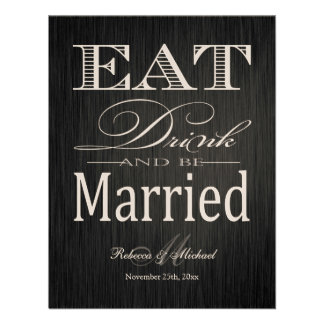 Eat Drink and be Married - Metallic Champagne Custom Announcement