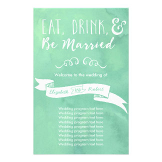 Eat, Drink, and Be Married Mint Wedding 14 Cm X 21.5 Cm Flyer